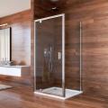 Sprchový kout, Lima, čtverec, 80x80x190 cm, chrom ALU, sklo Čiré, dveře pivotové