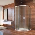 Sprchový kout, Lima, čtvrtkruh, 90x90x190 cm, R 550, chrom ALU, sklo Point Mereo
