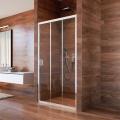 Sprchové dveře, Lima, trojdílné, zasunovací, 90x190 cm, chrom ALU, sklo Point