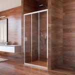 Sprchový set: LIMA, trojdílné, zasunovací, 100x190cm, chrom ALU, sklo Point, žlab ke stěně vč. roštu