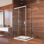 Sprchový kout, LIMA, čtverec, 90 cm, chrom ALU, sklo Point