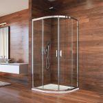 Sprchový set:, LIMA, čtvrtkruh, 90x90x190 cm, R 550, bílý ALU, sklo Point, vanička litý mramor