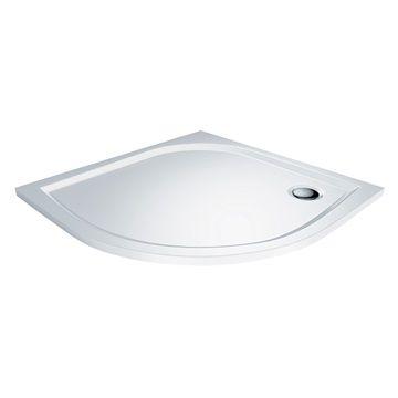 Čtvrtkruhová sprchová vanička, 90x90x3 cm, R550, bez nožiček, litý mramor Mereo