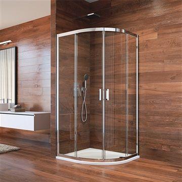 Sprchový kout, Lima, čtvrtkruh, 80x80x190 cm, R 550, chrom ALU, sklo Point Mereo
