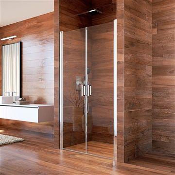 Sprchové dveře, Lima, dvoukřídlé, lítací, 80x190 cm, chrom ALU, sklo Point Mereo