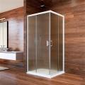 Sprchový kout, Lima, čtverec, 90x90x190 cm, bílý ALU, sklo Point