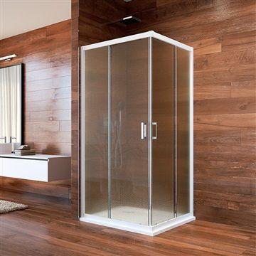 Sprchový kout, Lima, čtverec, 90x90x190 cm, bílý ALU, sklo Point Mereo