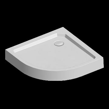 Čtvrtkruhová sprchová vanička R550, 90x90x14 cm, SMC, bílá, včetně nožiček a sifonu Mereo