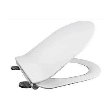 Samozavírací WC sedátko slim, duroplast, bílé, s odnímatelnými panty CLICK Mereo
