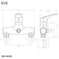 Sprchová nástěnná baterie, Eve, bez příslušenství, 150 mm, chrom Mereo