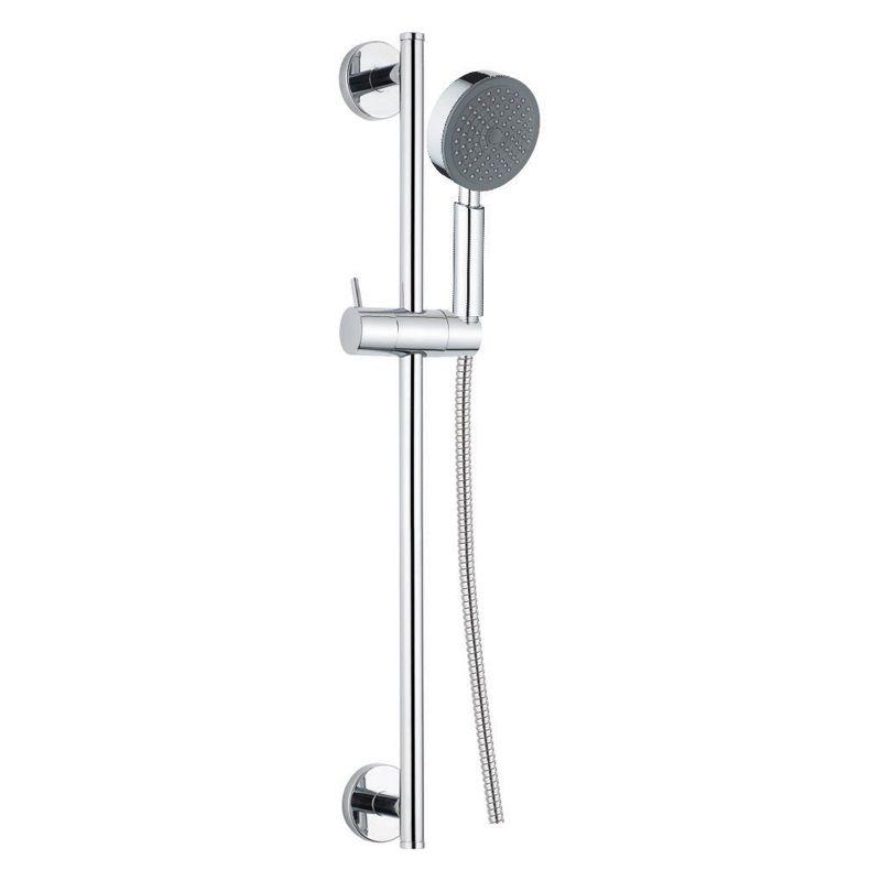 Sprchová souprava, jednopolohová sprcha, dvouzámková nerez hadice, stavitelný držák, plast/chrom Mereo