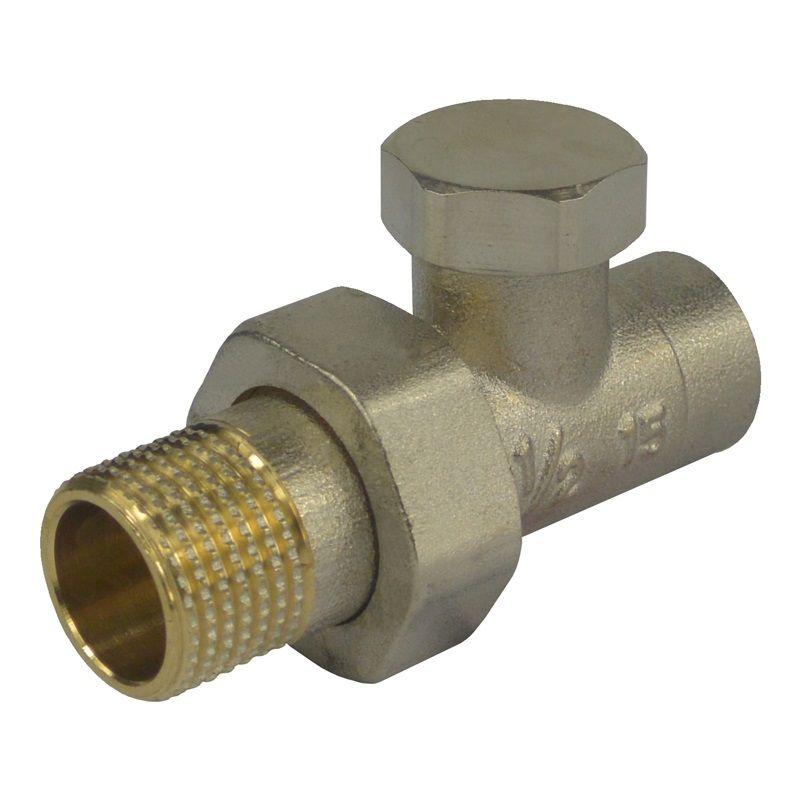 """Šroubení radiátorové uzavíratelné, přímé, pájecí, 1/2""""x15 mm Klum"""