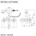 Vanová nástěnná baterie, Retro Viktorie, 150 mm, s příslušenstvím, chrom Mereo