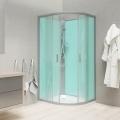 Sprchový box, čtvrtkruh, 100cm, satin ALU, sklo Point, zadní stěny zelené, litá vanička, bez stříšky