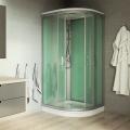Sprchový box, čtvrtkruh, 90 cm, satin ALU, sklo Point, zadní stěny zelené, litá vanička, bez stříšky