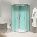 Sprchový box, čtvrtkruh, 100cm, satin ALU, sklo Point, zadní stěny zelené, litá vanička, se stříškou