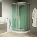 Sprchový box, čtvrtkruh, 90 cm, satin ALU, sklo Point, zadní stěny zelené, litá vanička, se stříškou