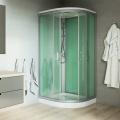Sprchový box, čtvrtkruh, 90cm, satin ALU, sklo Point, zadní stěny zelené, SMC vanička, se stříškou