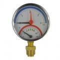 """Termomanometr 0-4bar, 0-120 °C, zadní vývod 1/2"""" Klum"""