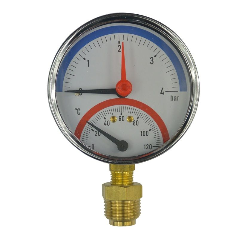 """Termomanometr 0-6bar, 0-120 °C, spodní vývod 1/2"""" Klum"""