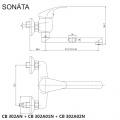 Dřezová nástěnná baterie, Sonáta, 100 mm, s ramínkem plochým rovným 250 mm, chrom Mereo