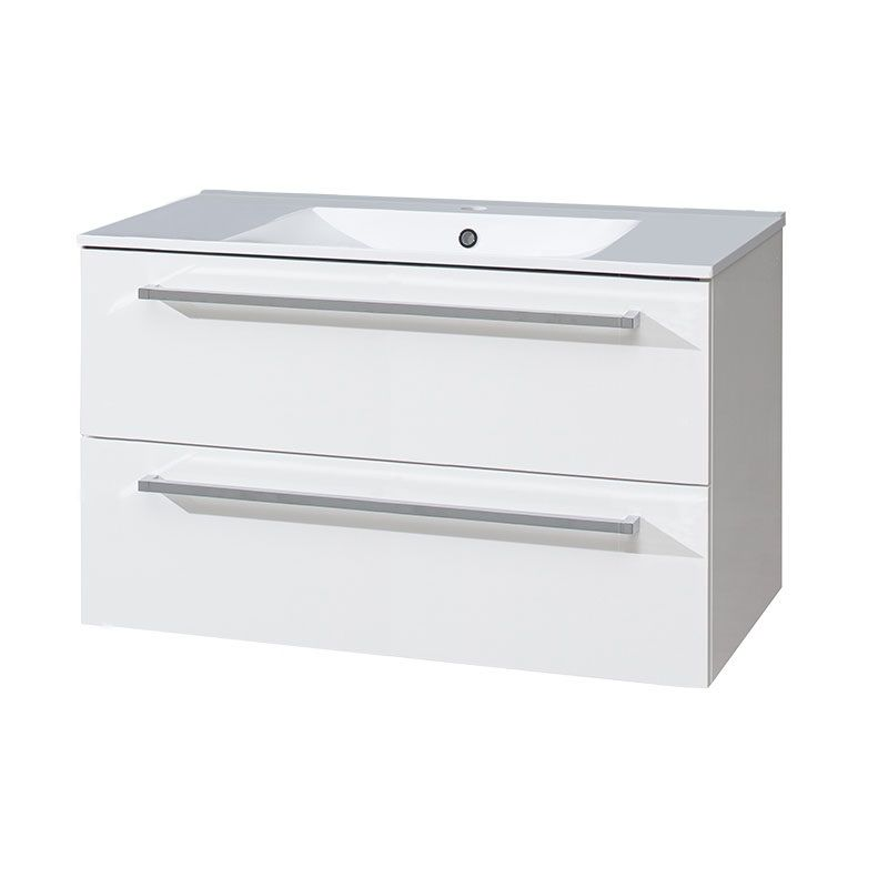 Bino koupelnová skříňka s keramickým umyvadlem 100 cm, bílá/bílá, 2 zásuvky Mereo