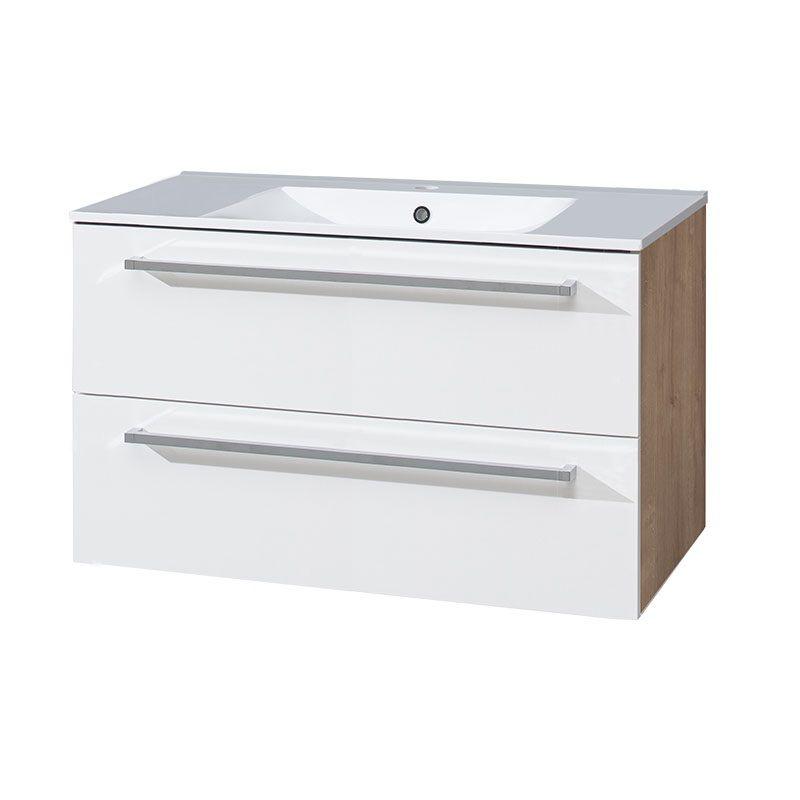 Bino koupelnová skříňka s keramickým umyvadlem 100cm, bílá/dub, 2 zásuvky Mereo
