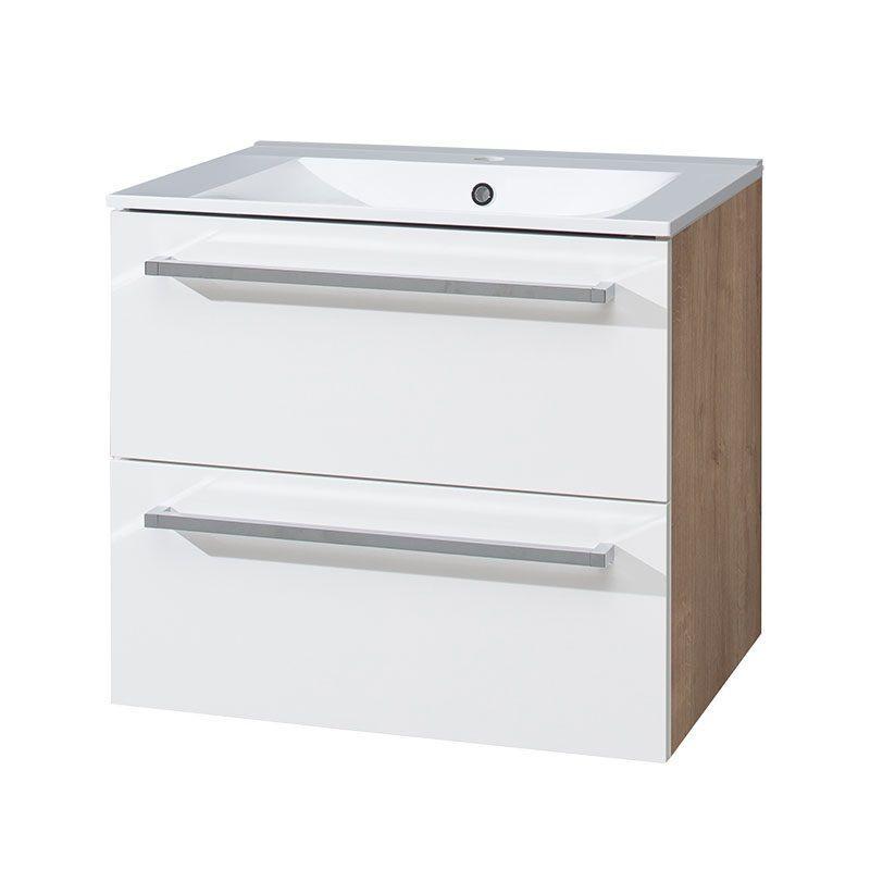 Bino koupelnová skříňka s keramickým umyvadlem 60 cm, spodní, bílá/dub, 2 zásuvky Mereo
