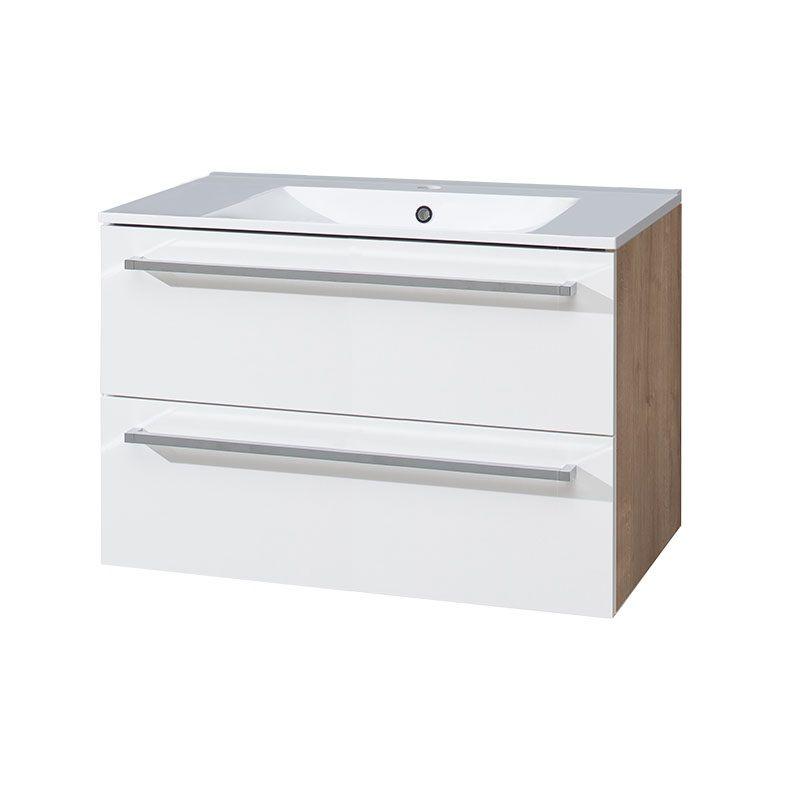 Bino koupelnová skříňka s keramickým umyvadlem 80 cm,bílá/dub, 2 zásuvky Mereo