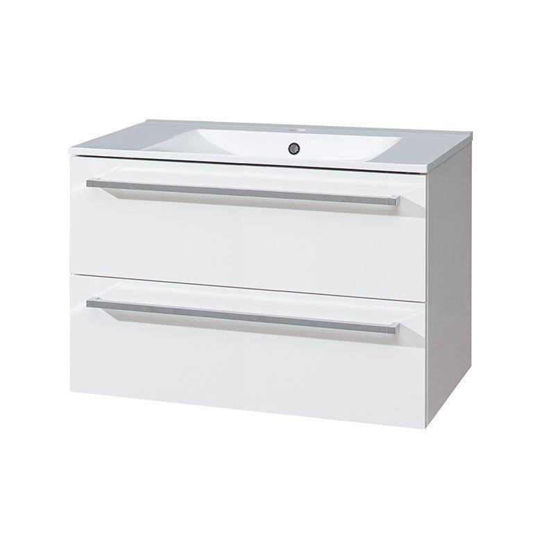 Bino koupelnová skříňka s keramickým umyvadlem, 80 cm, bílá/bílá, 2 zásuvky Mereo